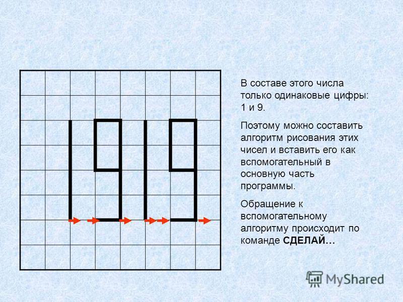В составе этого числа только одинаковые цифры: 1 и 9. Поэтому можно составить алгоритм рисования этих чисел и вставить его как вспомогательный в основную часть программы. Обращение к вспомогательному алгоритму происходит по команде СДЕЛАЙ…