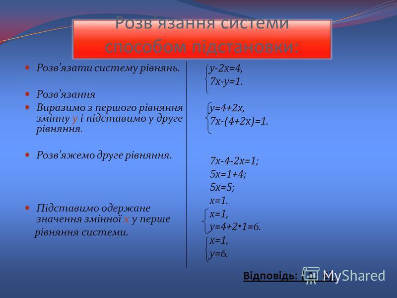 Розвязання системи способом підстановки: Розвязати систему рівнянь. Розвязання Виразимо з першого рівняння змінну у і підставимо у друге рівняння. Розвяжемо друге рівняння. Підставимо одержане значення змінної х у перше рівняння системи. у-2х=4, 7х-у