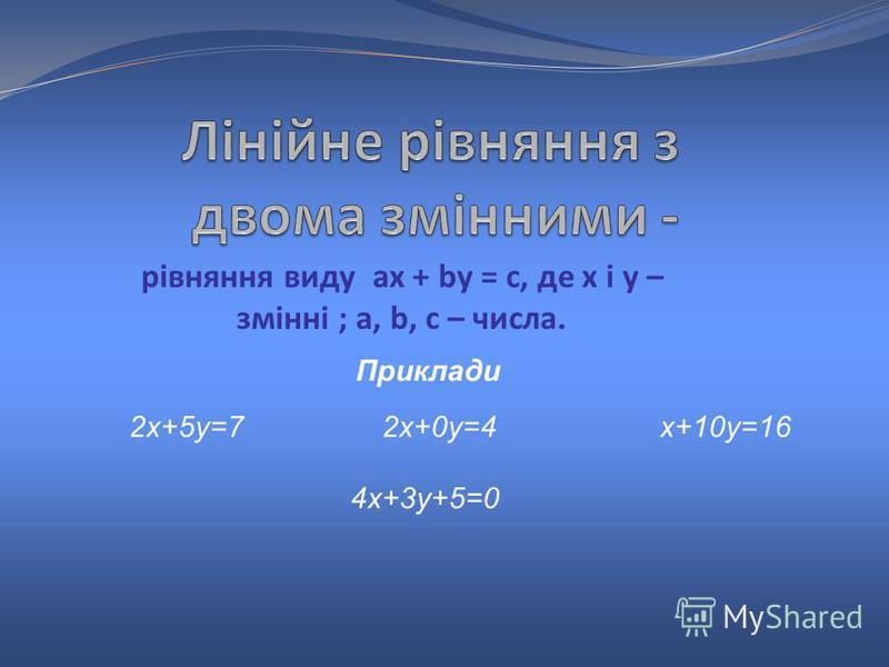 рівняння виду ax + by = c, де x і y – змінні ; a, b, c – числа. 2х+5у=7 2х+0у=4 х+10у=16 4х+3у+5=0 Приклади