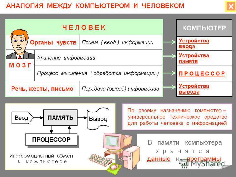 Урок по теме: «Персональный компьютер» ( фрагмент урока) Функциональная схема компьютера. Основные устройства компьютера, их назначение и взаимосвязь Демонстрация к лекции. Аналогия между человеком и компьютером Демонстрация к лекции. Информационный