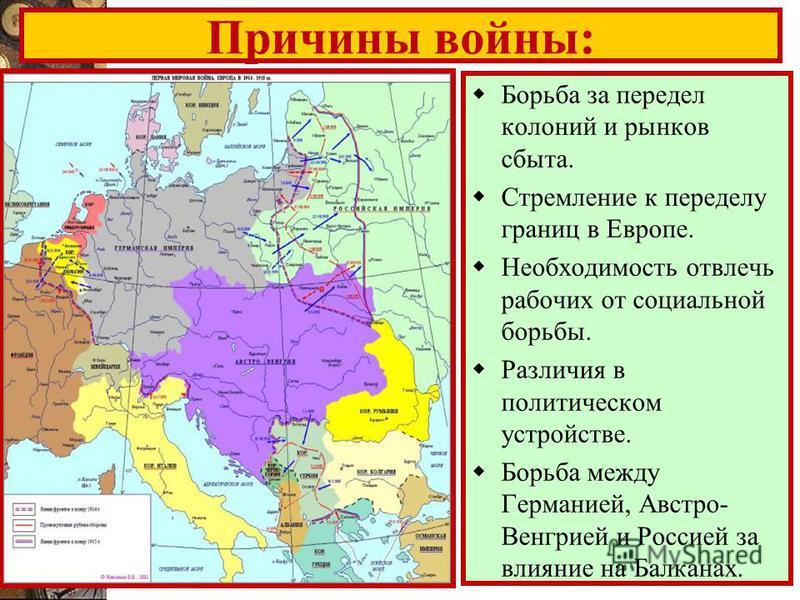 Причины войны: Борьба за передел колоний и рынков сбыта. Стремление к переделу границ в Европе. Необходимость отвлечь рабочих от социальной борьбы. Различия в политическом устройстве. Борьба между Германией, Австро- Венгрией и Россией за влияние на Б