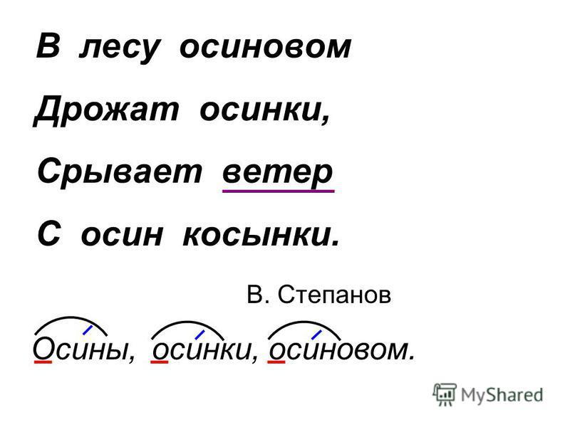 В лесу осиновом Дрожат осинки, Срывает ветер С осин косынки. В. Степанов Осины,осинки,осиновом.