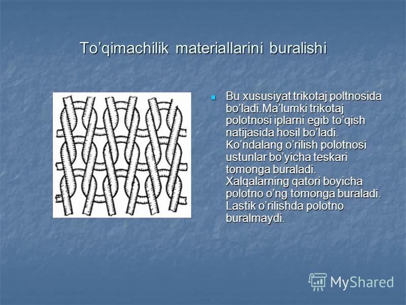 2-Disk usuli Gazlamaning tanda va arqoq yo'nalishi bo'yicha buramdorligi aniqlanadi. D=200mm o'lchamdagi namuna disk ustiga qo'yiladi. disk ustidan yorug'lik berib, qog'ozga proeksiyasi tushiriladi va shu proeksiya orqali buramdorlikka baho beriladi.
