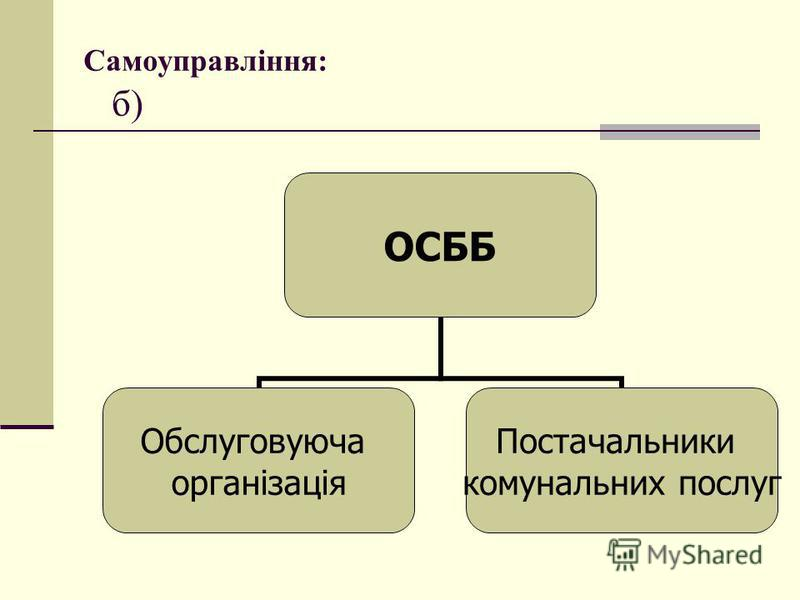 ОСББ Обслуговуюча організація Постачальники комунальних послуг Самоуправління: б)