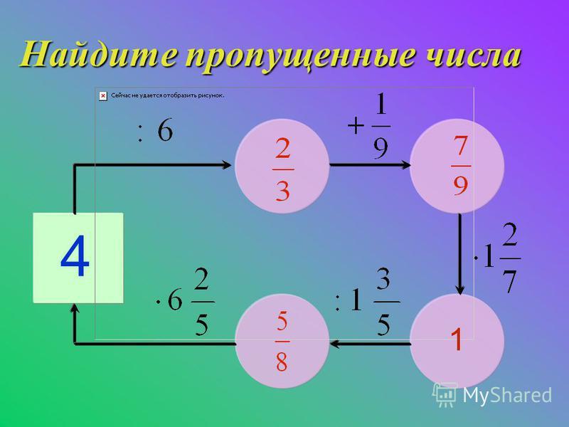 Найдите пропущенные числа 4 1