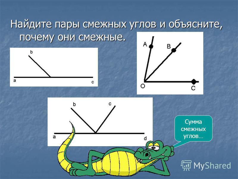 Найдите пары смежных углов и объясните, почему они смежные. Сумма смежных углов…