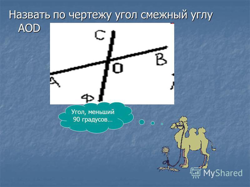 Назвать по чертежу угол смежный углу АОD Угол, меньший 90 градусов…