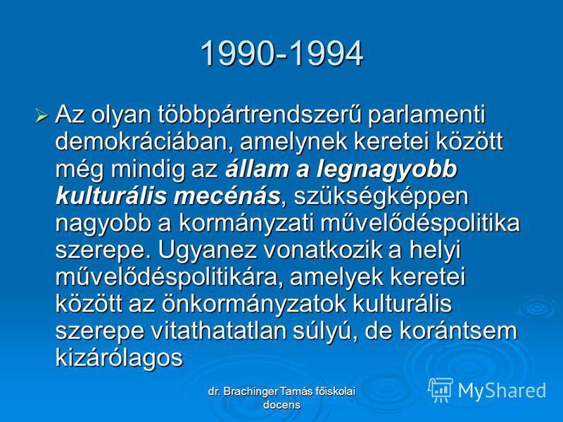 dr. Brachinger Tamás főiskolai docens 1990-1994 Az olyan többpártrendszerű parlamenti demokráciában, amelynek keretei között még mindig az állam a legnagyobb kulturális mecénás, szükségképpen nagyobb a kormányzati művelődéspolitika szerepe. Ugyanez v