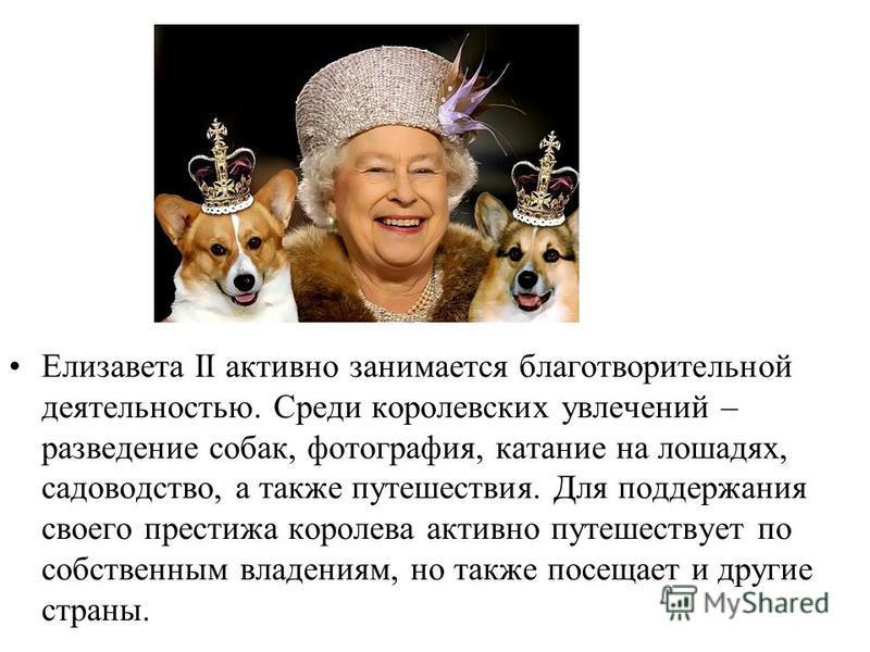 Елизавета II активно занимается благотворительной деятельностью. Среди королевских увлечений – разведение собак, фотография, катание на лошадях, садоводство, а также путешествия. Для поддержания своего престижа королева активно путешествует по собств