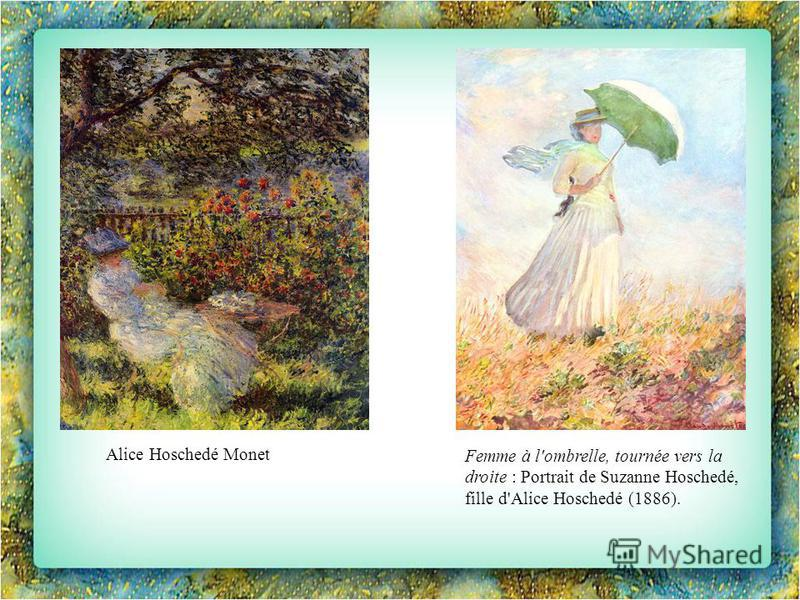 Alice Hoschedé Monet Femme à l'ombrelle, tournée vers la droite : Portrait de Suzanne Hoschedé, fille d'Alice Hoschedé (1886).