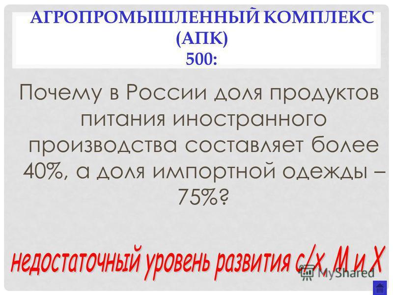 АГРОПРОМЫШЛЕННЫЙ КОМПЛЕКС (АПК) 500: Почему в России доля продуктов питания иностранного производства составляет более 40%, а доля импортной одежды – 75%?