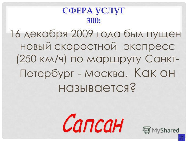 СФЕРА УСЛУГ 300: 16 декабря 2009 года был пущен новый скоростной экспресс (250 км/ч) по маршруту Санкт- Петербург - Москва. Как он называется?