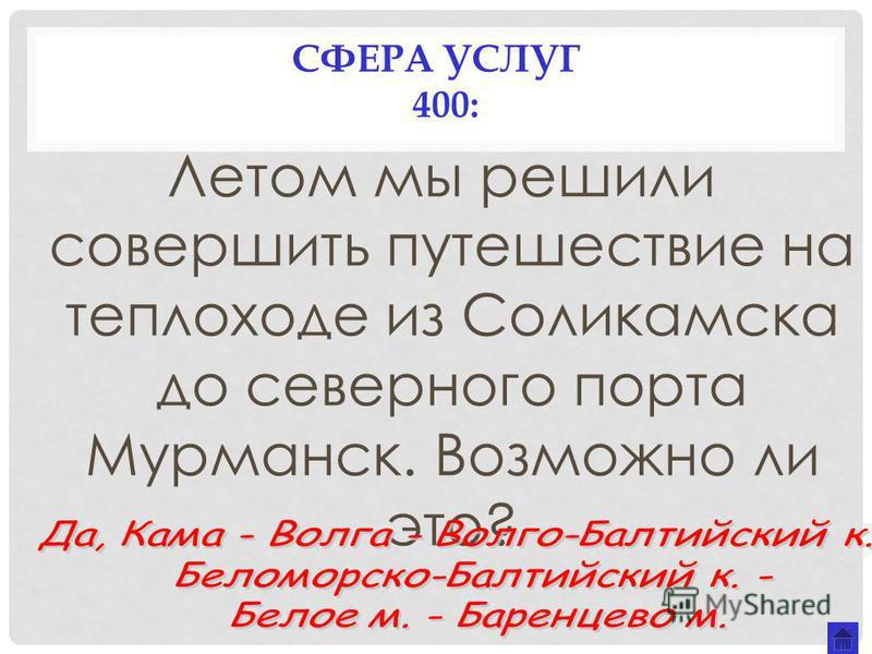 СФЕРА УСЛУГ 400: Летом мы решили совершить путешествие на теплоходе из Соликамска до северного порта Мурманск. Возможно ли это?