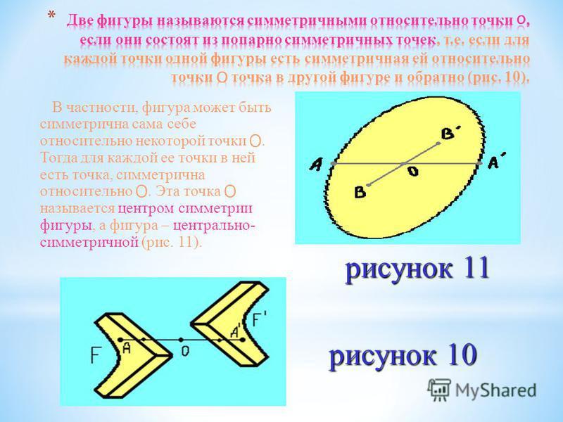 В частности, фигура может быть симметрична сама себе относительно некоторой точки O. Тогда для каждой ее точки в ней есть точка, симметрична относительно O. Эта точка O называется центром симметрии фигуры, а фигура – центрально- симметричной (рис. 11
