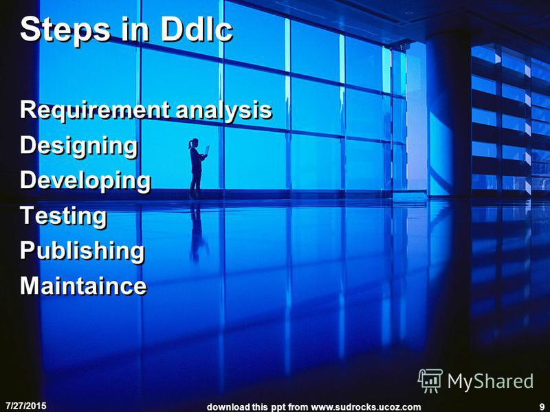 Steps in Ddlc Requirement analysis Designing Developing Testing Publishing Maintaince Requirement analysis Designing Developing Testing Publishing Maintaince 7/27/2015 download this ppt from www.sudrocks.ucoz.com9