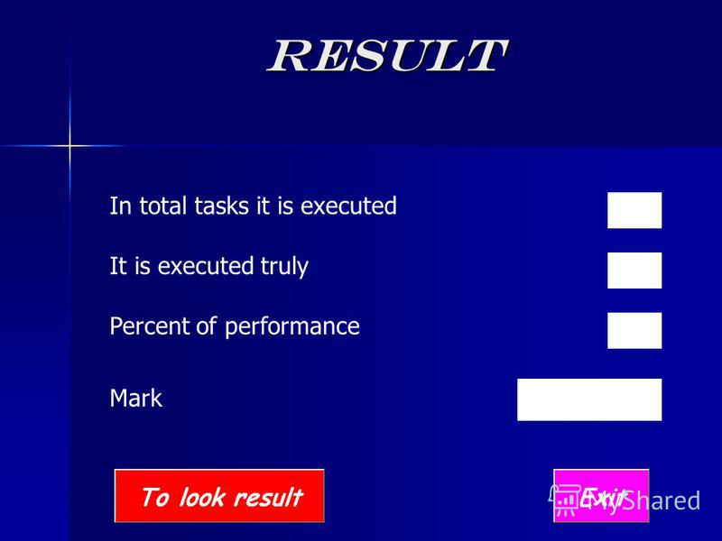 Result In total tasks it is executed It is executed truly Percent of performance Mark