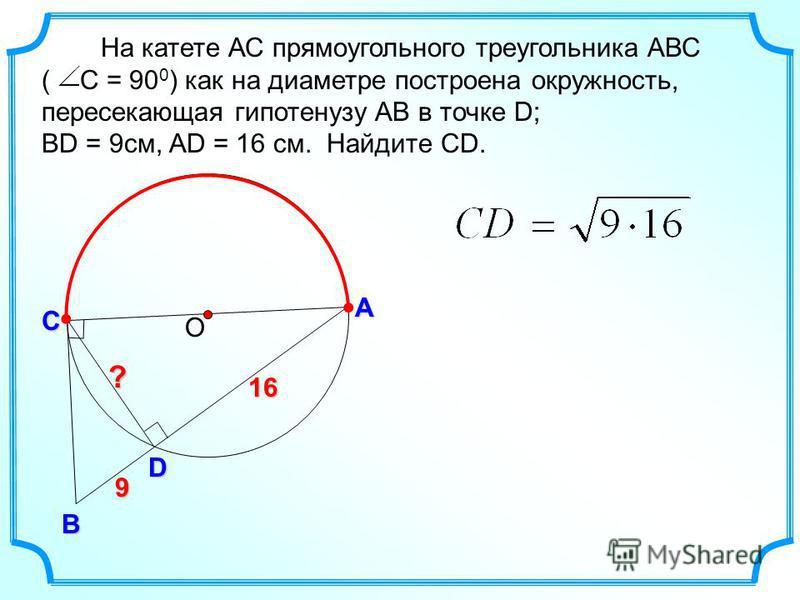 9 На катете АС прямоугольного треугольника АВС ( С = 90 0 ) как на диаметре построена окружность, пересекающая гипотенузу АВ в точке D; ВD = 9 см, AD = 16 см. Найдите СD. ОС А В ? D 16