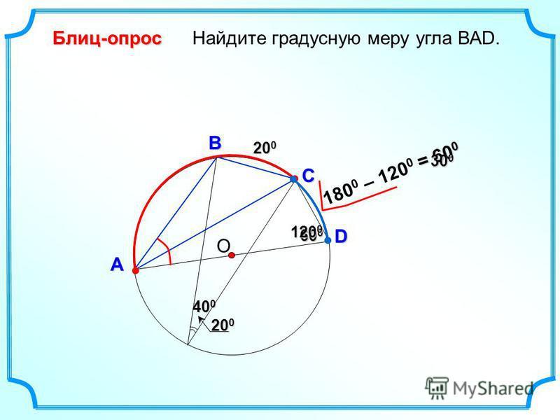 = 60 0 Найдите градусную меру угла ВАD. О В А D Блиц-опрос C 20 0 40 0 600600600600 120 0 180 0 – 120 0 200200200200 300300300300