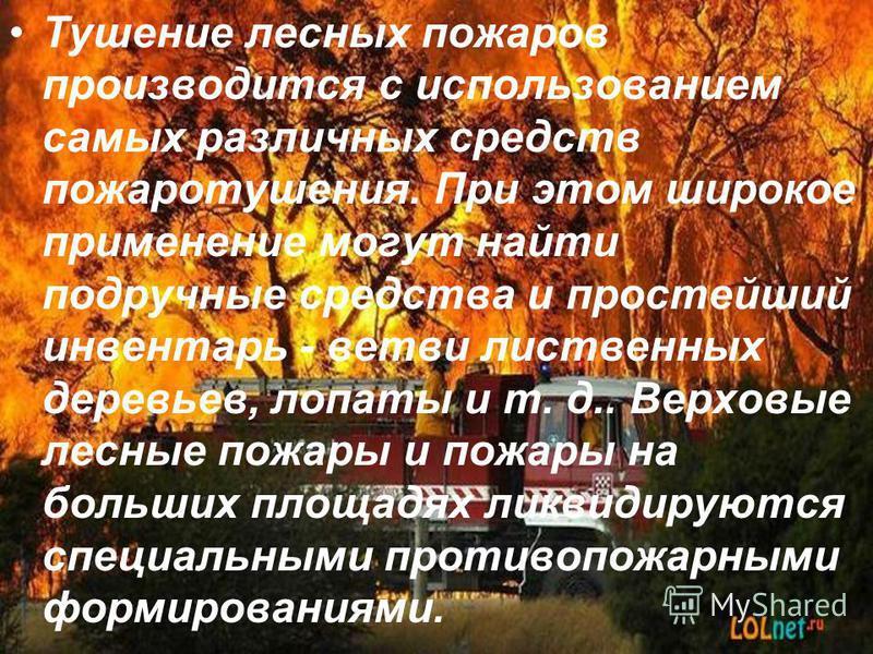 Тушение лесных пожаров производится с использованием самых различных средств пожаротушения. При этом широкое применение могут найти подручные средства и простейший инвентарь - ветви лиственных деревьев, лопаты и т. д.. Верховые лесные пожары и пожары