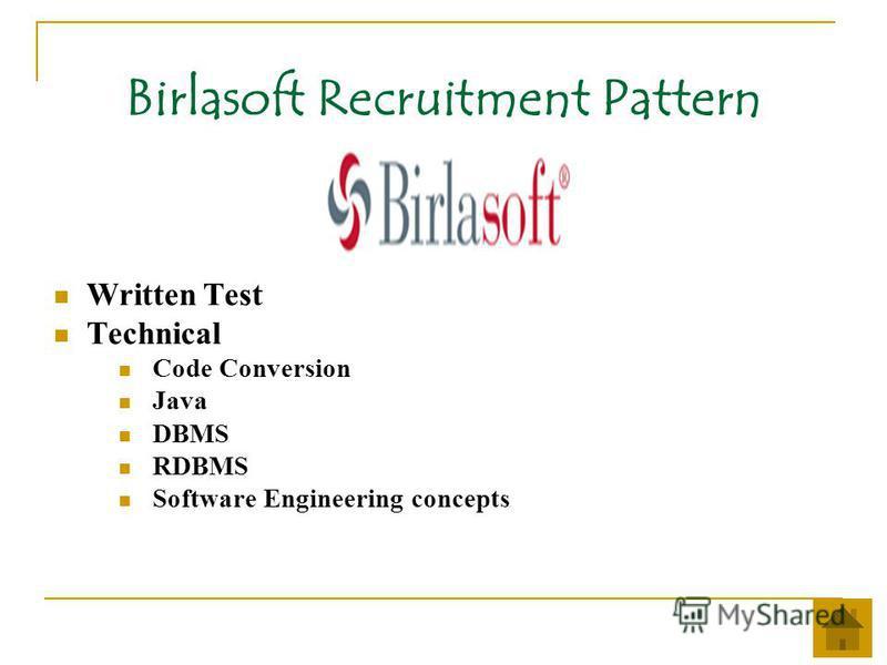 Birlasoft Recruitment Pattern Written Test Technical Code Conversion Java DBMS RDBMS Software Engineering concepts