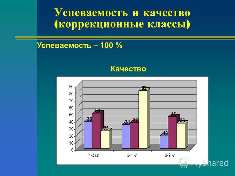 Успеваемость и качество ( коррекционные классы ) Успеваемость – 100 % Качество