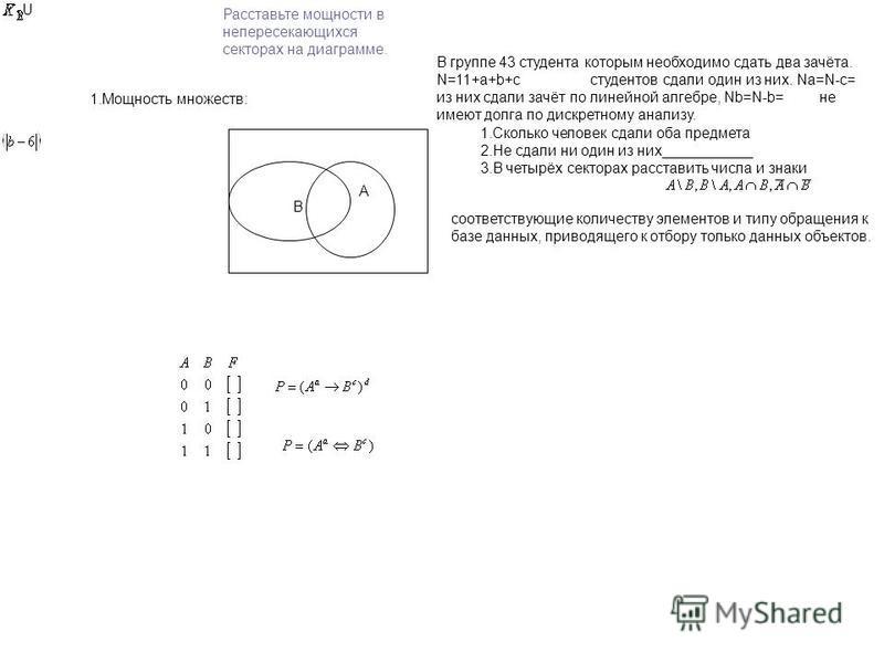 A B Расставьте мощности в непересекающихся секторах на диаграмме. 1. Мощность множеств: U В группе 43 студента которым необходимо сдать два зачёта. N=11+a+b+с студентов сдали один из них. Na=N-c= из них сдали зачёт по линейной алгебре, Nb=N-b= не име
