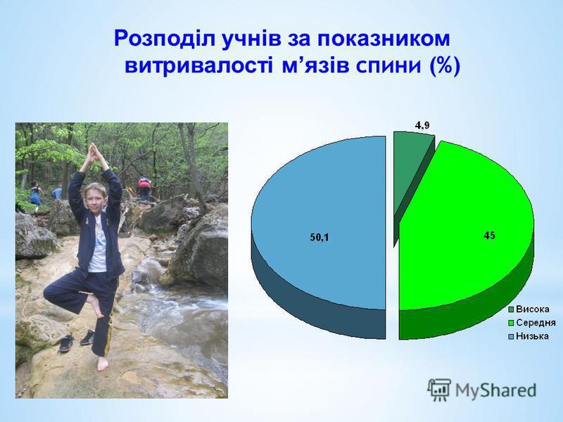 Розподіл учнів за показником витривалості мязів спини (%)
