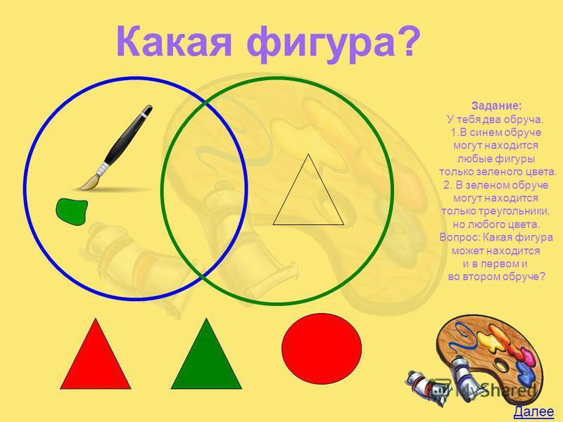 Задание: У тебя два обруча. 1. В синем обруче могут находится любые фигуры только зеленого цвета. 2. В зеленом обруче могут находится только треугольники, но любого цвета. Вопрос: Какая фигура может находится и в первом и во втором обруче? Далее