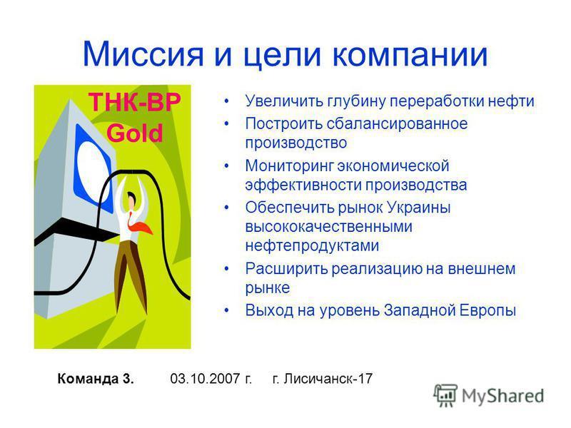 Миссия и цели компании Увеличить глубину переработки нефти Построить сбалансированное производство Мониторинг экономической эффективности производства Обеспечить рынок Украины высококачественными нефтепродуктами Расширить реализацию на внешнем рынке