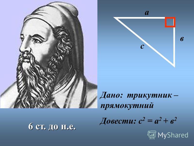 6 ст. до н.е. с а в Дано: трикутник – прямокутний Довести: с 2 = а 2 + в 2