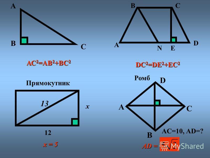А С В АС2=АВ2+ВС2 E А ВС D N DС2=DE2+EС2 Прямокутник x 12 13 Ромб А В С D AC=10, AD=? AD = x = 5