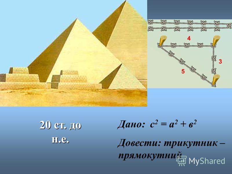 20 ст. до н.е. Дано: с 2 = а 2 + в 2 Довести: трикутник – прямокутний