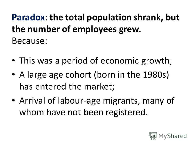 Paradox: the total population shrank, but the number of employees grew. Because: This was a period of economic growth; A large age cohort (born in the 1980s) has entered the market; Arrival of labour-age migrants, many of whom have not been registere