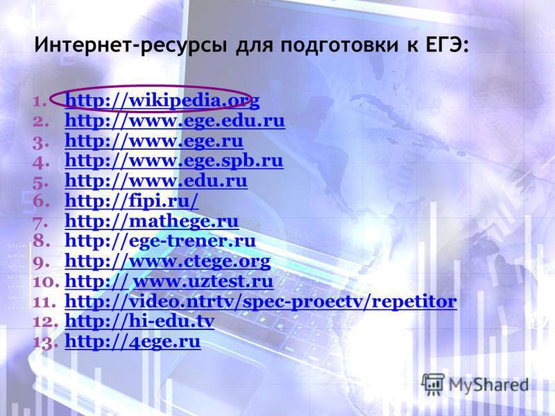 Интернет-ресурсы для подготовки к ЕГЭ: 1.http://wikipedia.org 2.http://www.ege.edu.ru 3.http://www.ege.ru 4.http://www.ege.spb.ru 5.http://www.edu.ru 6.http://fipi.ru/ 7.http://mathege.ru 8.http://ege-trener.ru 9.http://www.ctege.org 10.http:// www.u