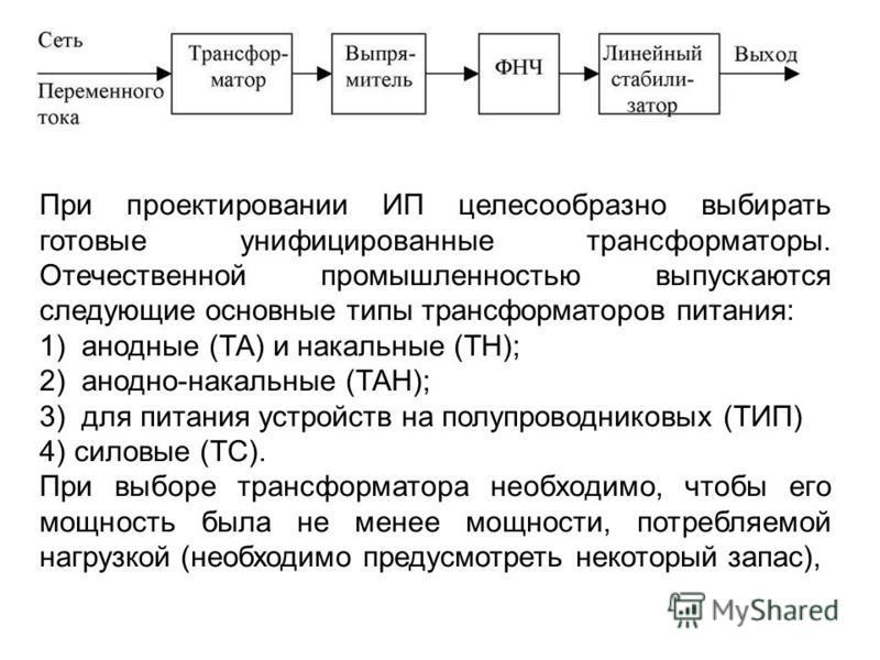 При проектировании ИП целесообразно выбирать готовые унифицированные трансформаторы. Отечественной промышленностью выпускаются следующие основные типы трансформаторов питания: 1) анодные (ТА) и накальные (ТН); 2) анодно-накальные (ТАН); 3) для питани