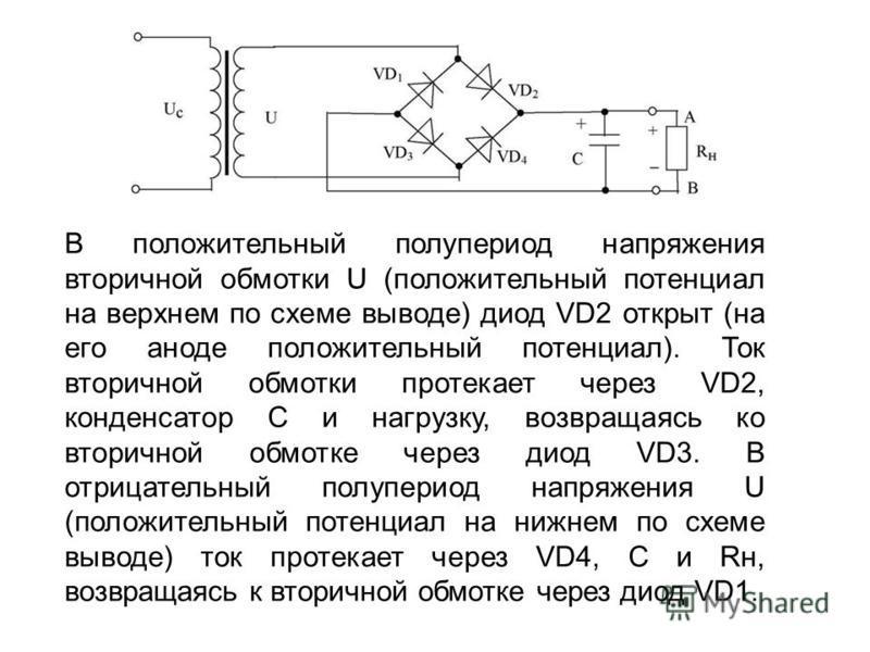 В положительный полупериод напряжения вторичной обмотки U (положительный потенциал на верхнем по схеме выводе) диод VD2 открыт (на его аноде положительный потенциал). Ток вторичной обмотки протекает через VD2, конденсатор С и нагрузку, возвращаясь ко