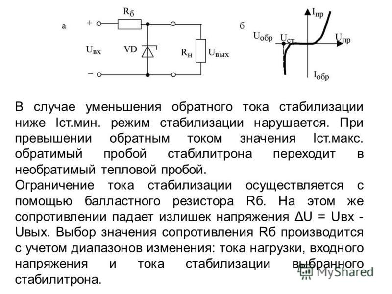 В случае уменьшения обратного тока стабилизации ниже Iст.мин. режим стабилизации нарушается. При превышении обратным током значения Iст.макс. обратимый пробой стабилитрона переходит в необратимый тепловой пробой. Ограничение тока стабилизации осущест