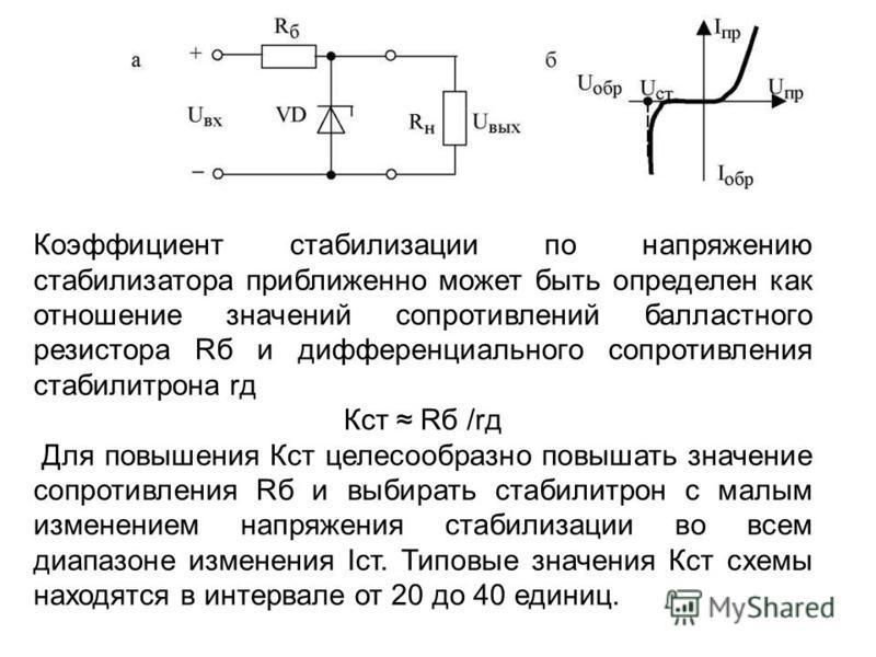 Коэффициент стабилизации по напряжению стабилизатора приближенно может быть определен как отношение значений сопротивлений балластного резистора Rб и дифференциального сопротивления стабилитрона rд Кст Rб /rд Для повышения Кст целесообразно повышать