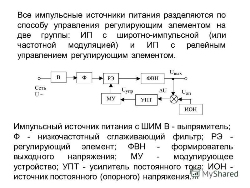 Все импульсные источники питания разделяются по способу управления регулирующим элементом на две группы: ИП с широтно-импульсной (или частотной модуляцией) и ИП с релейным управлением регулирующим элементом. Импульсный источник питания с ШИМ В - выпр