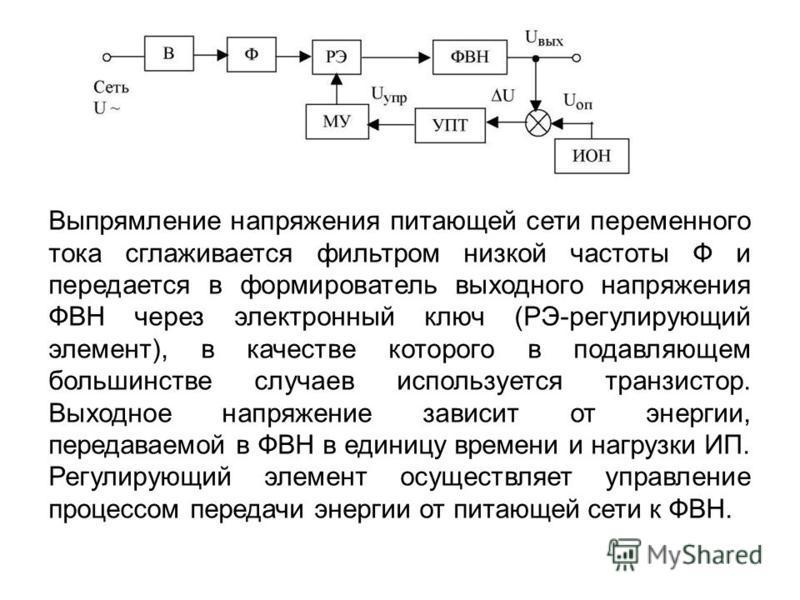 Выпрямление напряжения питающей сети переменного тока сглаживается фильтром низкой частоты Ф и передается в формирователь выходного напряжения ФВН через электронный ключ (РЭ-регулирующий элемент), в качестве которого в подавляющем большинстве случаев