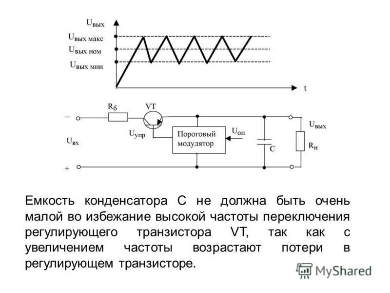 Емкость конденсатора С не должна быть очень малой во избежание высокой частоты переключения регулирующего транзистора VT, так как с увеличением частоты возрастают потери в регулирующем транзисторе.