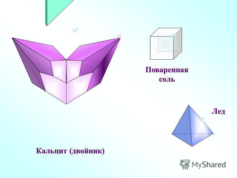Кальцит (двойник) Поваренная соль Лед