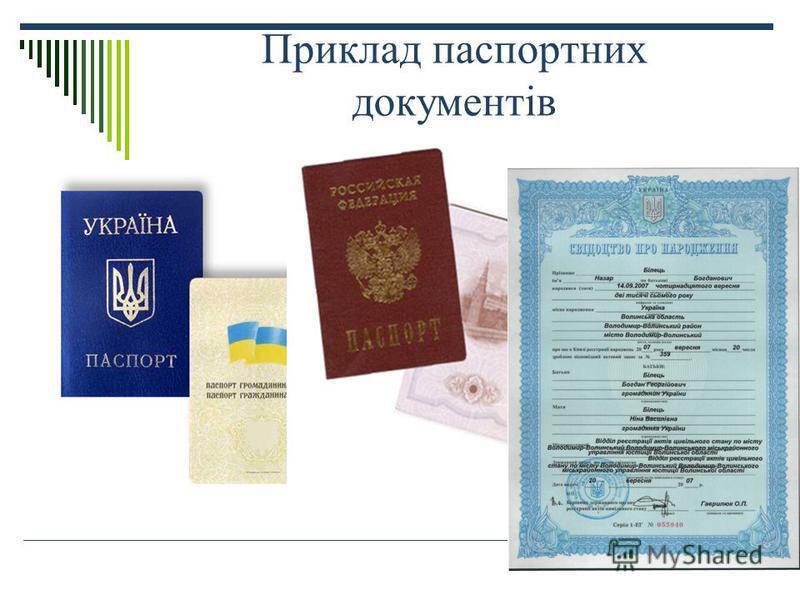 Приклад паспортних документів