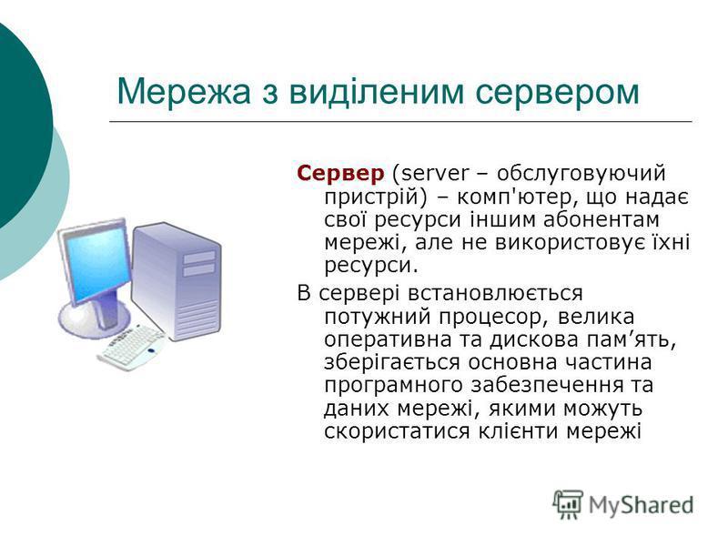 Мережа з виділеним сервером Сервер (server – обслуговуючий пристрій) – комп'ютер, що надає свої ресурси іншим абонентам мережі, але не використовує їхні ресурси. В сервері встановлюється потужний процесор, велика оперативна та дискова память, зберіга