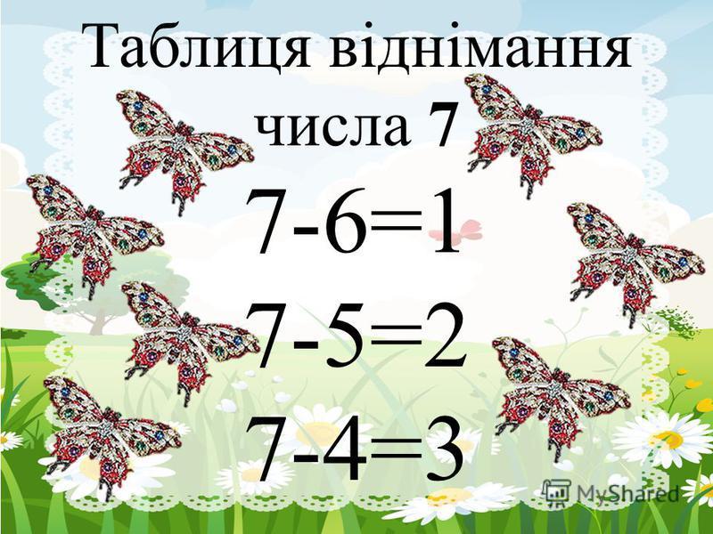 Таблиця віднімання числа 7 7-6=1 7-5=2 7-4=3