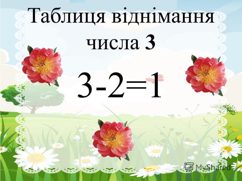 Таблиця віднімання числа 3 3-2=1