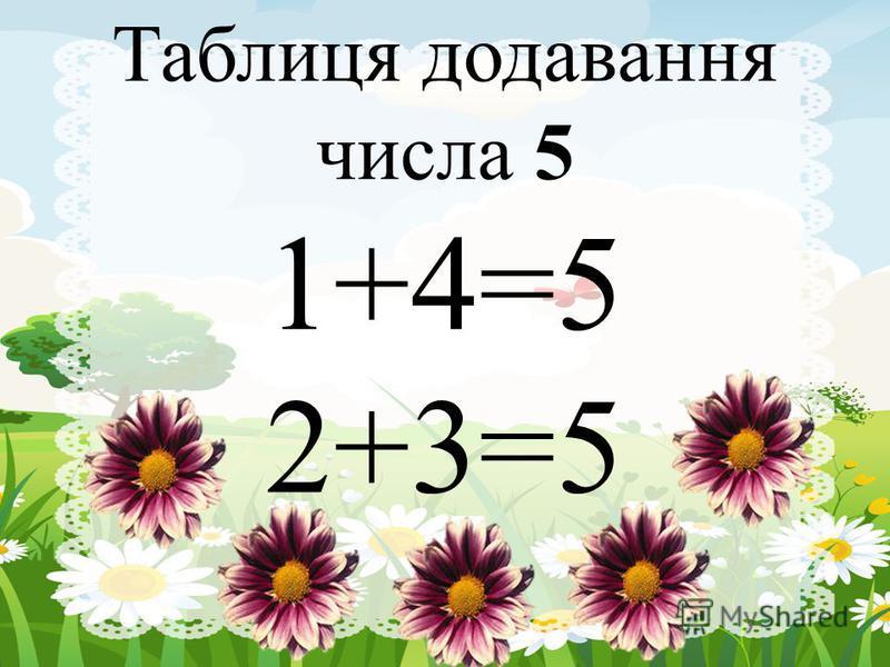 Таблиця додавання числа 5 1+4=5 2+3=5