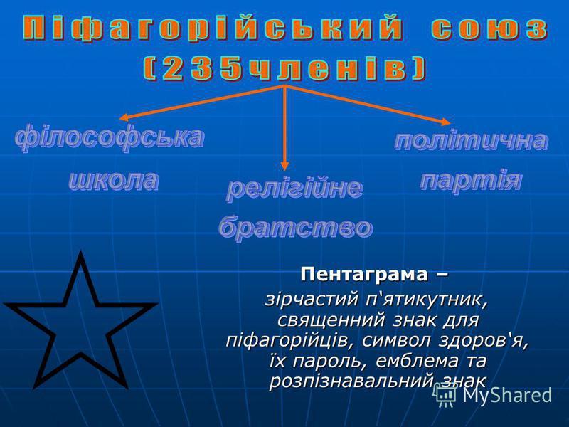 Пентаграма – Пентаграма – зірчастий пятикутник, священний знак для піфагорійців, символ здоровя, їх пароль, емблема та розпізнавальний знак зірчастий пятикутник, священний знак для піфагорійців, символ здоровя, їх пароль, емблема та розпізнавальний з