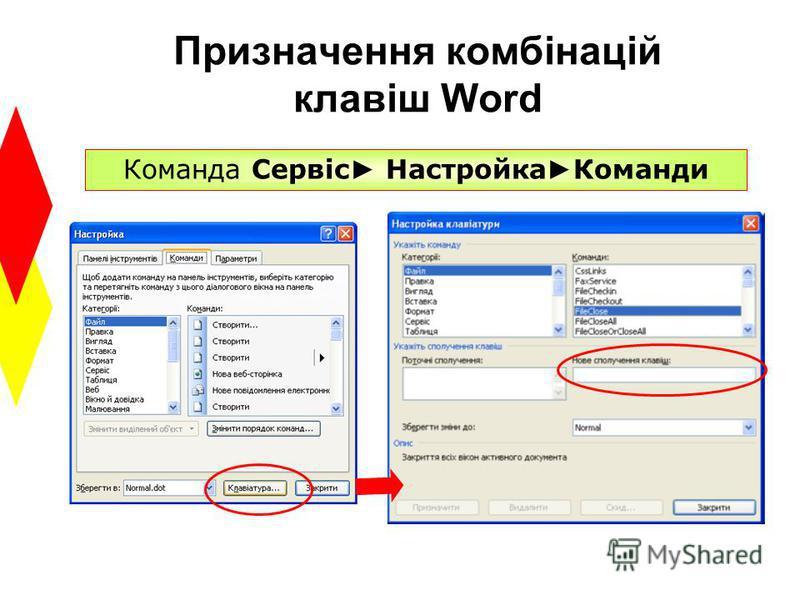 Призначення комбінацій клавіш Word Команда Сервіс Настройка Команди