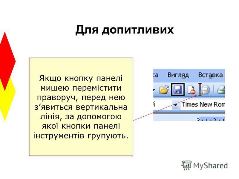Для допитливих Якщо кнопку панелі мишею перемістити праворуч, перед нею зявиться вертикальна лінія, за допомогою якої кнопки панелі інструментів групують.